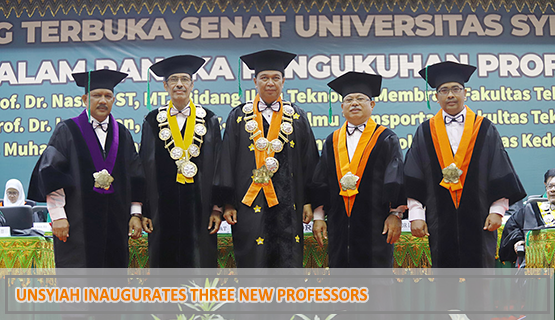Unsyiah Inaugurates Three New Professors