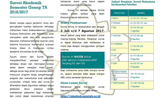 Survei Akademik Semester Genap TA 2016/2017