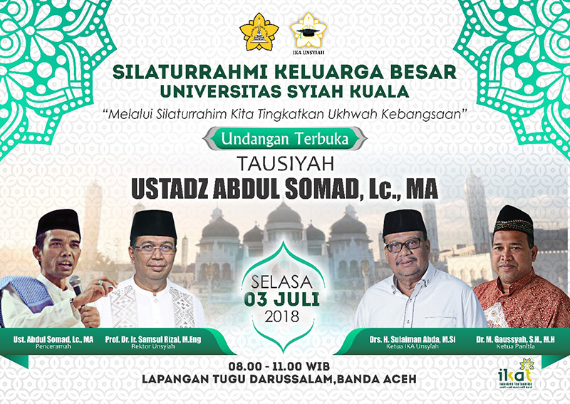 July 3, Ustad Abdul Somad Give Tausiah at Unsyiah