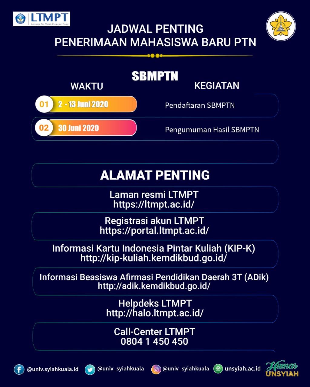 Ikut Seleksi Masuk Ptn Calon Peserta Wajib Daftar Di Ltmpt Universitas Syiah Kuala