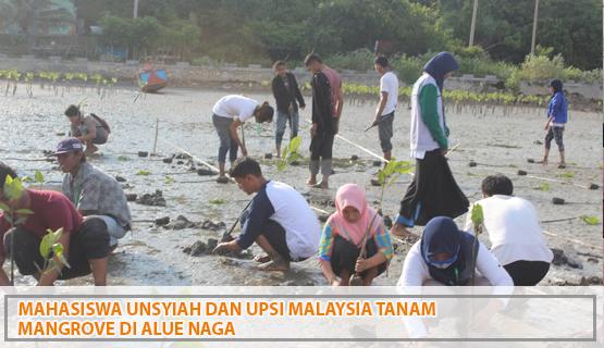 Mahasiswa Unsyiah dan UPSI Malaysia Tanam Mangrove   di Alue Naga