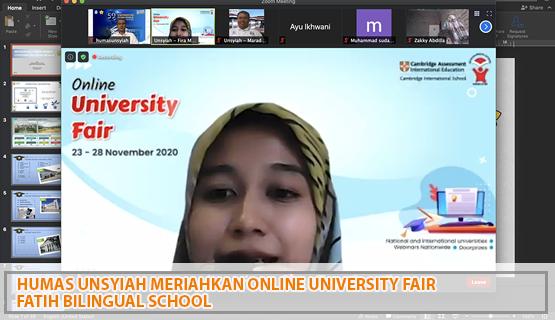 Humas Unsyiah Meriahkan Online University Fair Fatih Bilingual School