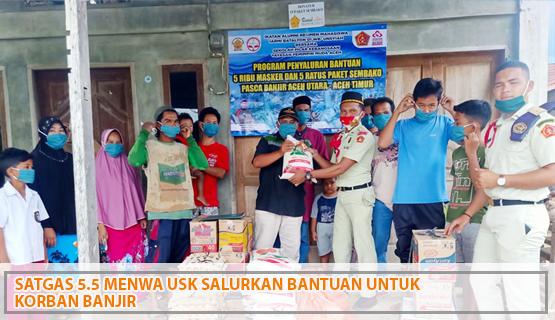Satgas 5.5 IARMI USK Salurkan Bantuan untuk Korban Banjir