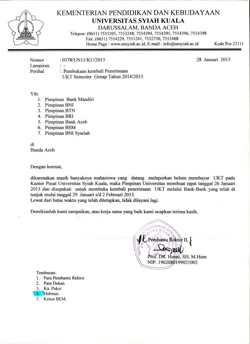 Pembukaan Kembali Penerimaan Pembayaran Ukt Universitas Syiah Kuala