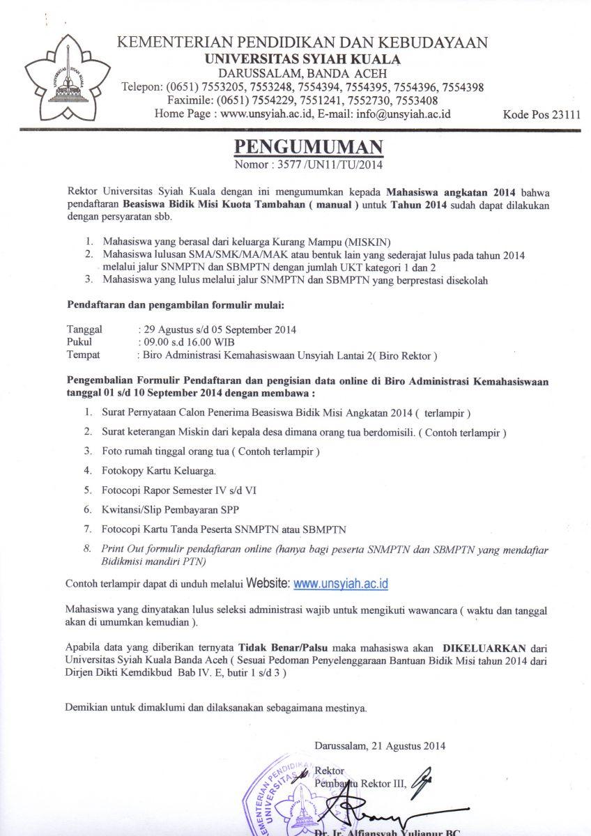 Pendaftaran Beasiswa Bidikmisi Kuota Tambahan 2014 Universitas